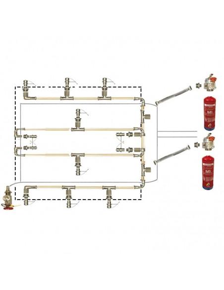 Sistema de extinción de incendios en cocinas para campanas centrales de 250 cm