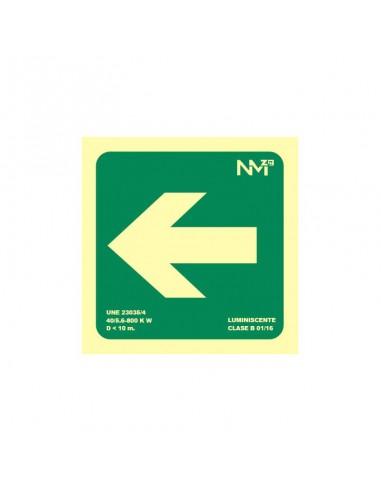 Señal flecha izquierda evacuación